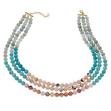 Colleen Lopez Jade, Pink Opal and Amazonite Bead Necklace