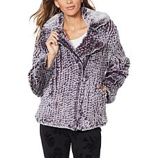 Colleen Lopez Knitted Faux Fur Moto Jacket