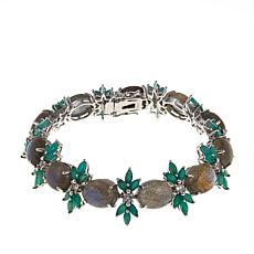 Colleen Lopez Labradorite, Emerald and White Topaz Line Bracelet