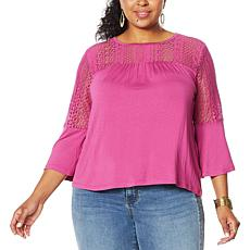 Colleen Lopez Lace Yoke Mixed Media Top