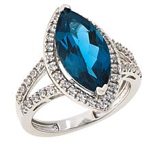 Colleen Lopez Marquise London Blue Topaz and White Zircon Ring