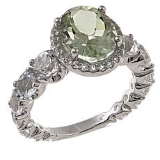 Colleen Lopez Oval Gemstone and White Topaz Sterling Silver Ring