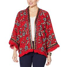 Colleen Lopez Printed Crop Jacket with Fringe Detail