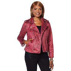 Colleen Lopez Printed Faux Suede Moto Jacket