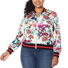 Colleen Lopez Printed Velvet Bomber Jacket