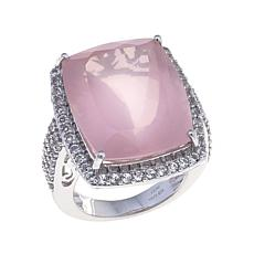 Colleen Lopez Rose Quartz and White Topaz Ring