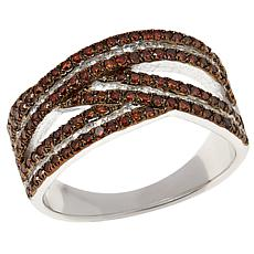 Colleen Lopez Sterling Silver 0.89ctw Diamond Crossover Ring