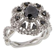 Colleen Lopez Sterling Silver 1.00ctw Black Diamond Flower Ring