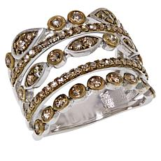 Colleen Lopez Sterling Silver 1ctw Champagne Diamond 5-Row Ring