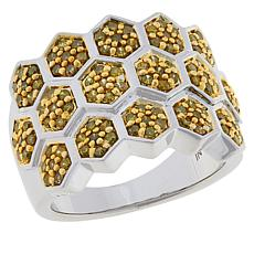 Colleen Lopez Sterling Silver .75ctw Yellow Diamond Honeycomb Ring
