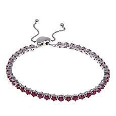 Colleen Lopez Sterling Silver Burmese Ruby Adjustable Bracelet