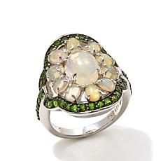 Colleen Lopez Sterling Silver Chrome Diopside and Opal Floral Ring