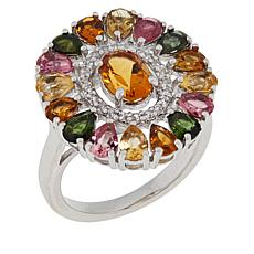 Colleen Lopez Sterling Silver Citrine and Multi Tourmaline Ring