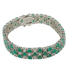 Colleen Lopez Sterling Silver Emerald and White Topaz Bracelet