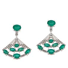 Colleen Lopez Sterling Silver Emerald and White Zircon Fan Earrings