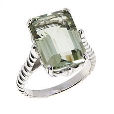 Colleen Lopez Sterling Silver Emerald-Cut Prasiolite Ring