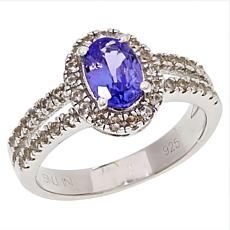 Colleen Lopez Sterling Silver Gemstone and White Zircon Halo Ring