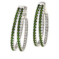 Colleen Lopez Sterling Silver Gemstone Split Hoop Earrings