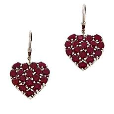 Colleen Lopez Sterling Silver Indian Ruby Heart Drop Earrings