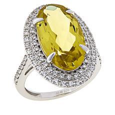 Colleen Lopez Sterling Silver Lemon Quartz and White Zircon Ring
