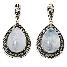 Colleen Lopez Sterling Silver Moonstone and Marcasite Drop Earrings