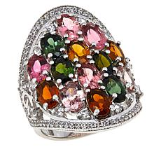 Colleen Lopez Sterling Silver Multi-Color Tourmaline Ring