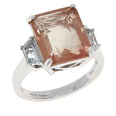 Colleen Lopez Sterling Silver Oregon Sunstone and White Topaz Ring