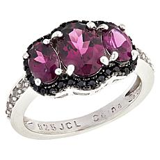 Colleen Lopez Sterling Silver Oval Gemstone 3-Stone Ring