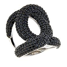 Colleen Lopez Sterling Silver Pavé Black Spinel Link Ring