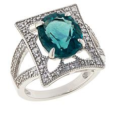 Colleen Lopez Sterling Silver Peacock Fluorite and White Zircon Ring