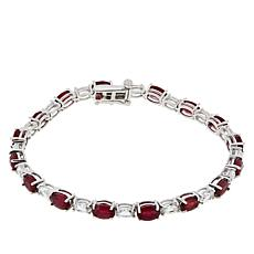 Colleen Lopez Sterling Silver Ruby and White Zircon Tennis Bracelet
