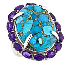 Colleen Lopez Sterling Silver Turquoise and Amethyst Ring