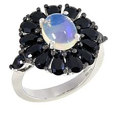 Colleen Lopez Sterling Silver White Opal and Black Spinel Ring