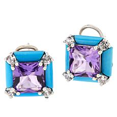 Colleen Lopez Turquoise, Amethyst and White Zircon Stud Earrings