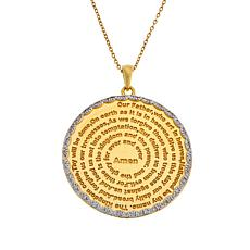 Colleen Lopez White Zircon Reversible Prayer Medallion Pendant w/Chain