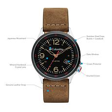 "Columbia ""Canyon Ridge"" Men's Camel-Color Leather Strap Watch"