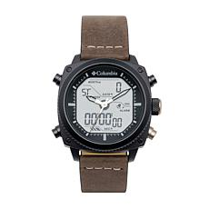 "Columbia ""Ridge Runner"" Men's Analog-Digital Brown Leather Strap Watch"