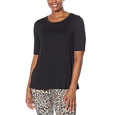 Comfort Code Stretch Jersey Elbow-Sleeve Side Stripe Top