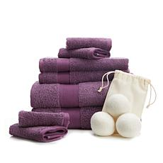 Concierge Collection 8-pc 100% Turkish Cotton Towel Set w/Dryer Balls