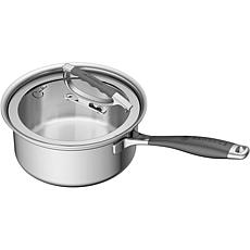 CookCraft 3-Qt. Tri-Ply Stainless Steel Sauce Pan with Glass Lid