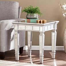 Coronado Glam Mirrored Square End Table - Matte Silver