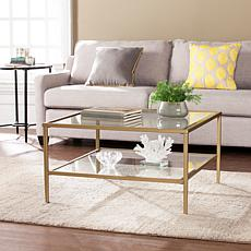 Cortada Square Metal/Glass Open-Shelf Table - Gold