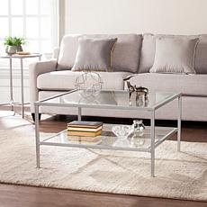 Cortada Square Metal/Glass Open-Shelf Table - Silver