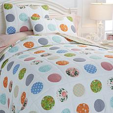 Cottage Circle Print 100% Cotton 3pc Quilt Set