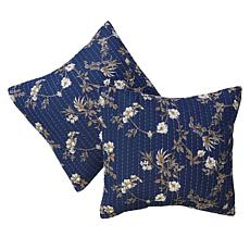 Cottage Collection 100% Cotton Stitched Euro Sham 2-pk - Indigo Floral