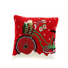 Cottage Collection Hooked Wool Pillow - Gift Bike