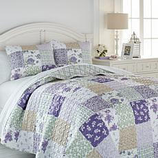 Cottage Collection Lilac Patchwork Reversible 3-piece Quilt Set