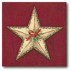 """Courtside Market Brown Star With Holly 14"""" x 14"""" Wood Art"""