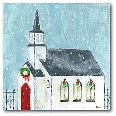 Courtside Market Christmas Night 16x16 Canvas Wall Art