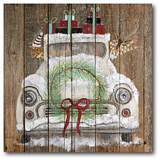 "Courtside Market Christmas Truck 14"" x 14"" Wood Art"